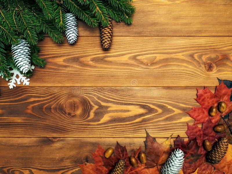 Lönnlöv och granfilialer på träbrädet Höst- och vinterbakgrund arkivfoto