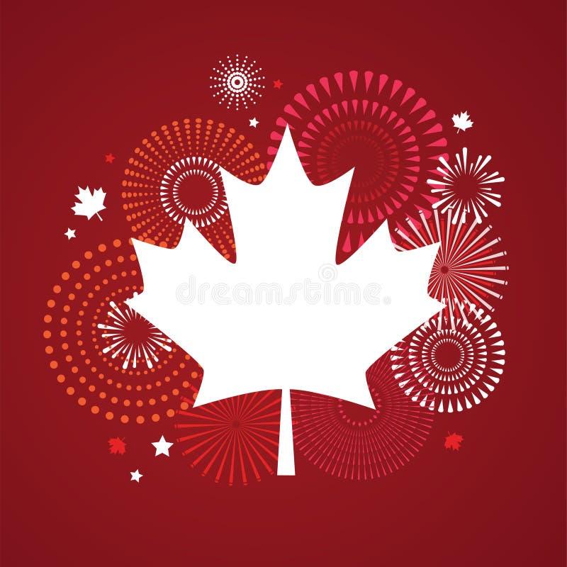 Lönnlövet med fyrverkeriaffischen för firar den nationella dagen av Kanada Lyckligt Kanada dagkort Kanada flagga, fyrverkerier royaltyfri illustrationer