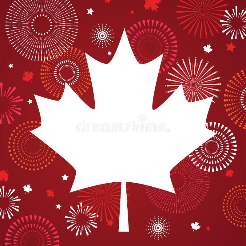 Lönnlövet med fyrverkeriaffischen för firar den nationella dagen av Kanada Lyckligt Kanada dagkort Kanada flagga, fyrverkerier vektor illustrationer