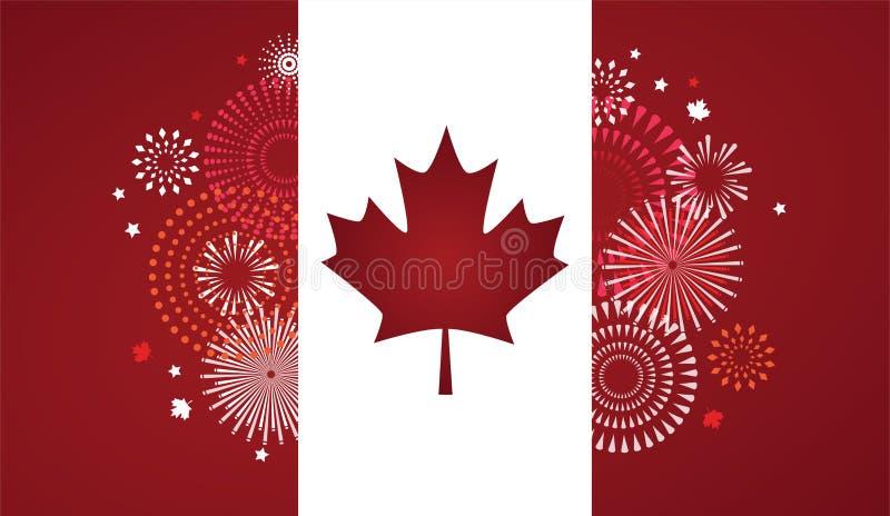 Lönnlövet med fyrverkeriaffischen för firar den nationella dagen av Kanada Lyckligt Kanada dagkort Kanada flagga, fyrverkerier stock illustrationer