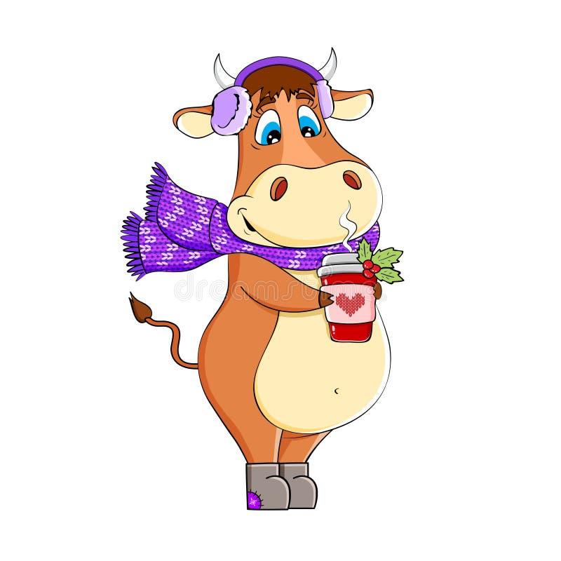 Lönsam Bull med kaffe i en scarf royaltyfri illustrationer