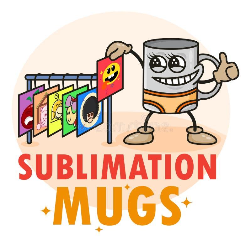 Lönsam logotyp för sublimeringsmuggar med söt rolig kopp Bild som ändrar mall för kaffesmuggling För typografi, utskrift, företag stock illustrationer
