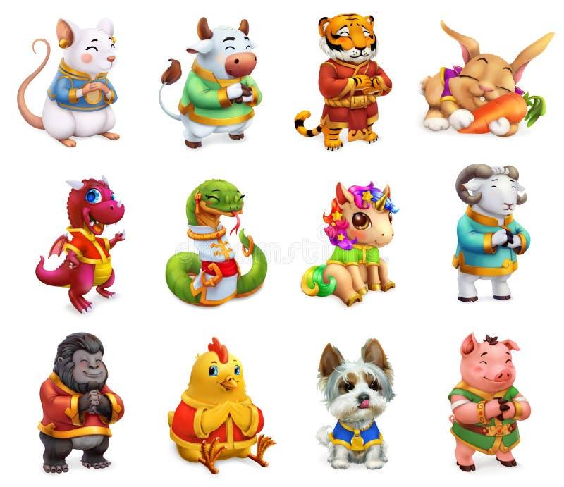 Lönsamma djur i kinesisk zodiak, Rat, ox, tiger, kanin, drake och orm, häst, får, apa, roster, hund och gris stock illustrationer