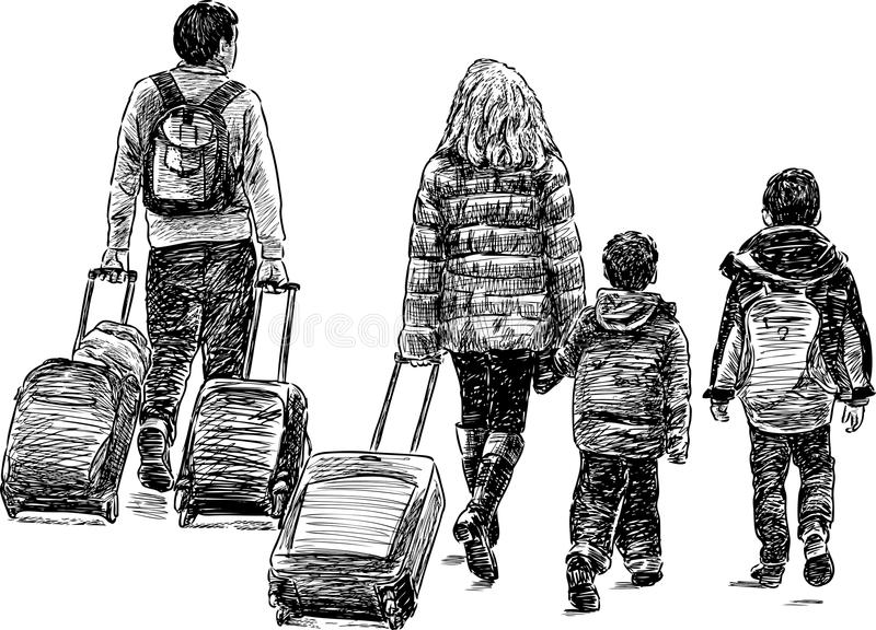 Löpande familj royaltyfri illustrationer
