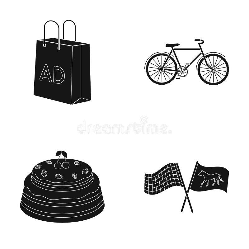 Löparbana, shopping och eller rengöringsduksymbol i svart stil Sport spänningsymboler i uppsättningsamling royaltyfri illustrationer