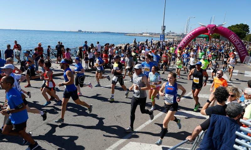 Löpare för lopp Palma för halv maraton körande vitt royaltyfria foton