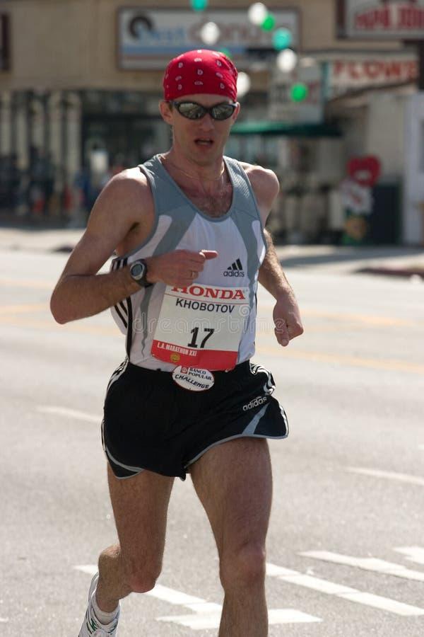 löpare för mikhail för maraton för angeles khobotonlos royaltyfria bilder