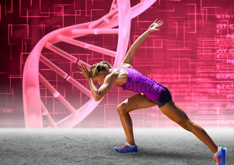 Löpare med den rosa dna-kedjeväggen vektor illustrationer