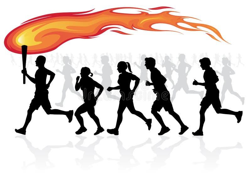 Löpare med flammfacklan. vektor illustrationer