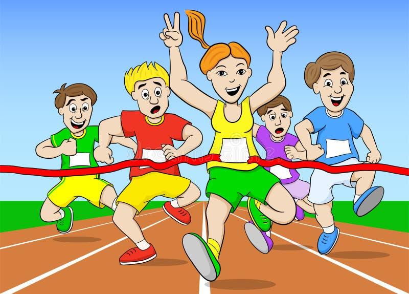 Löpare och vinnare royaltyfri illustrationer
