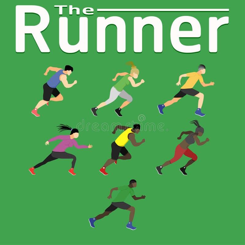 Löparekörningen körde för för sportkondition för vård- lycka jogga utbildning för skor för kvinnor för män för idrottshall för öv vektor illustrationer