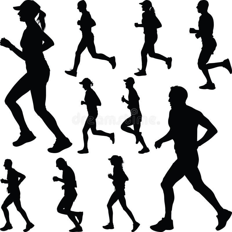 Löparekontur rustande stock illustrationer