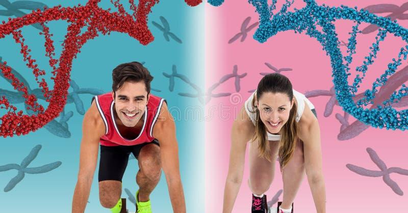 löparekvinna och löpareman med dna-kedjor, rosa färger och blåttbakgrund royaltyfri illustrationer