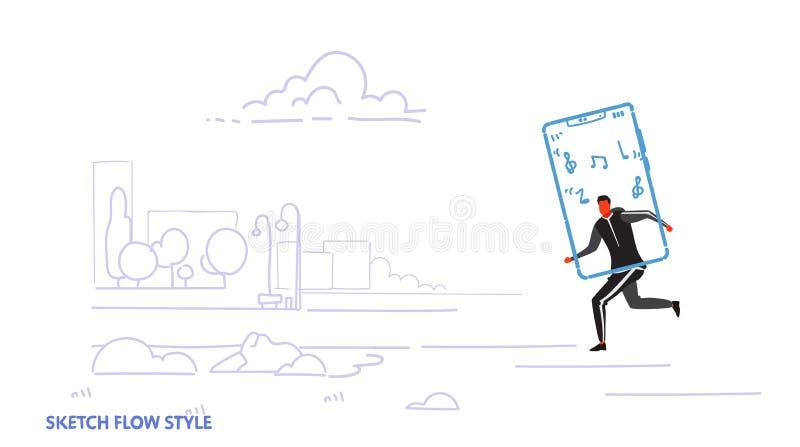 Löparemannen som använder staden för musik för den online-mobila applikationidrottsmannen den stads- lyssnande körande, parkerar  stock illustrationer