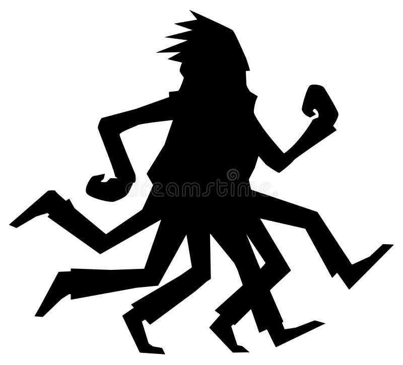 Löparen lägger benen på ryggen konturn vektor illustrationer