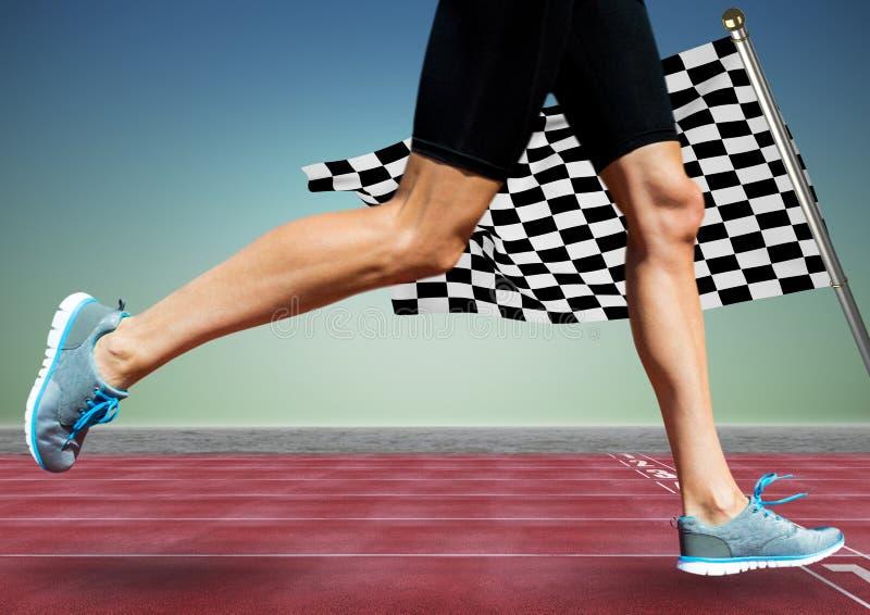Löparen lägger benen på ryggen på spår mot bakgrund för blå gräsplan och rutig flagga stock illustrationer