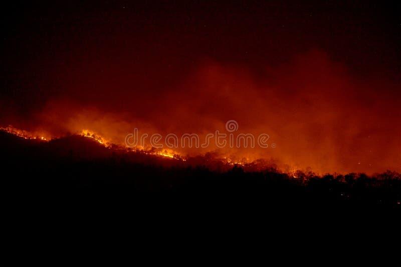 Löpeldkatastrof - brandbränningberg i nattetid royaltyfri fotografi