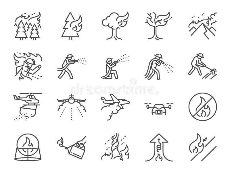 Löpeldlinje symbolsuppsättning Inklusive släcker symbolerna som brandstormen, brandbekämpning, brandman, berget, bränningen, skog vektor illustrationer