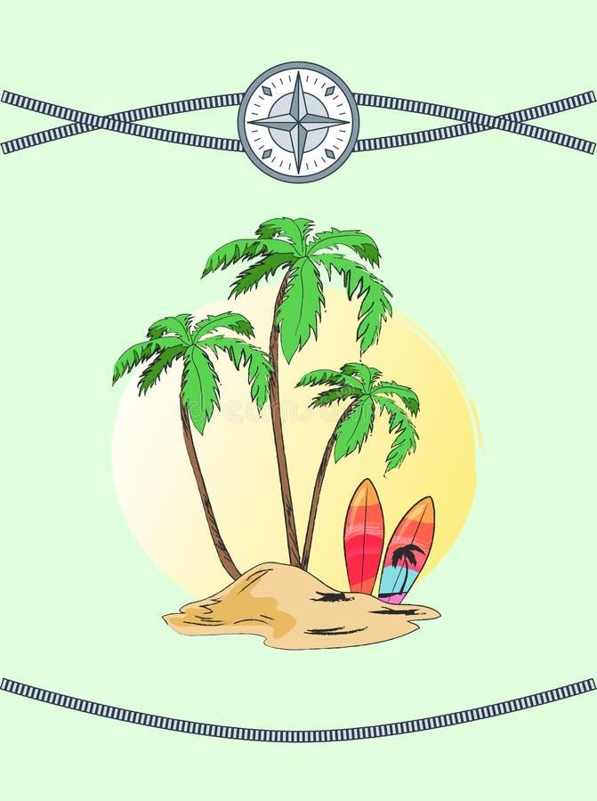Lös ö med vektorillustrationen för tre Plams stock illustrationer