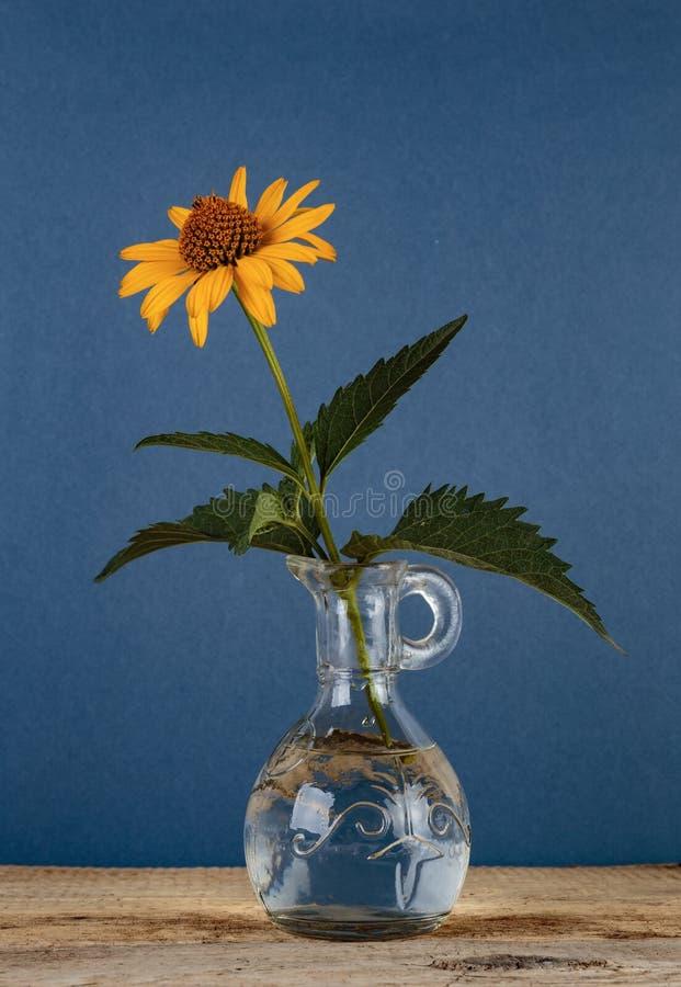 Lös blomma i en vas på en trätabell arkivbild