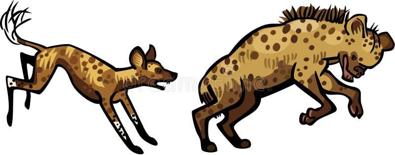 Lös hund som jagar en hyena stock illustrationer