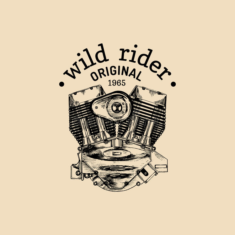 Lös logo för motorcykel för ryttarevektortappning Cyklistklubbatecken Garageetikett Vektorillustration av den hand drog motorn vektor illustrationer