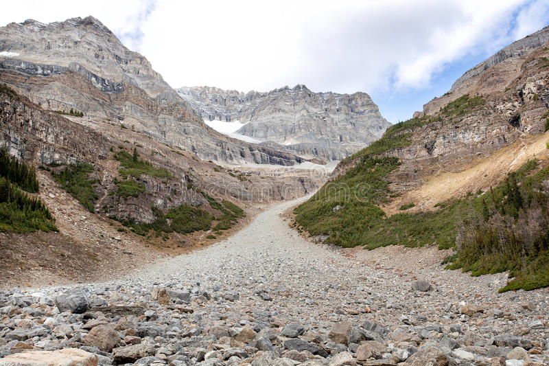 Lös natur i Rocky Mountains, kvarlevor av glaciation arkivfoto