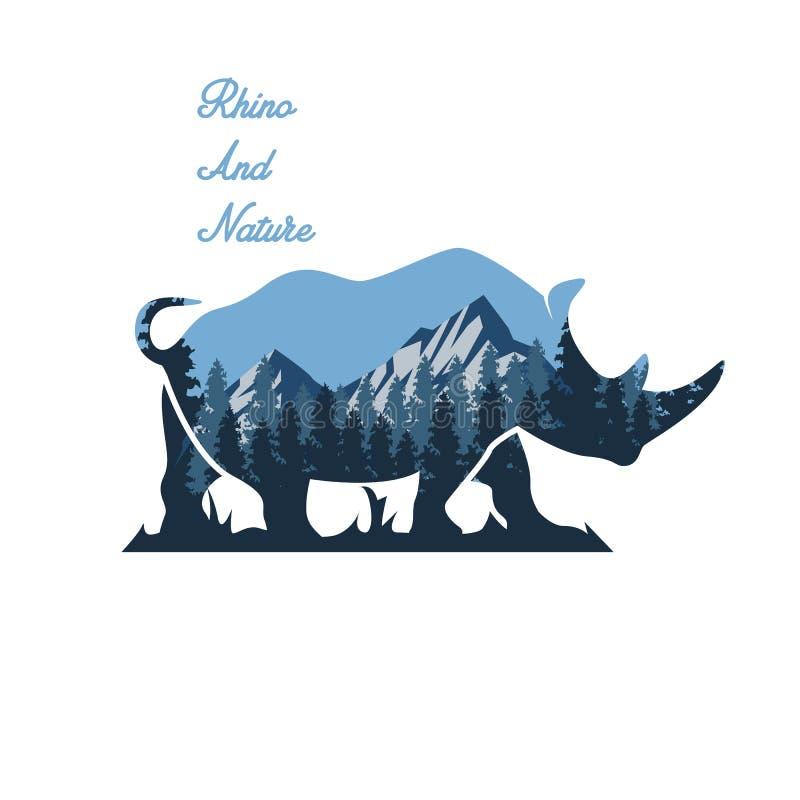 Lös noshörning- och naturillustration royaltyfri illustrationer
