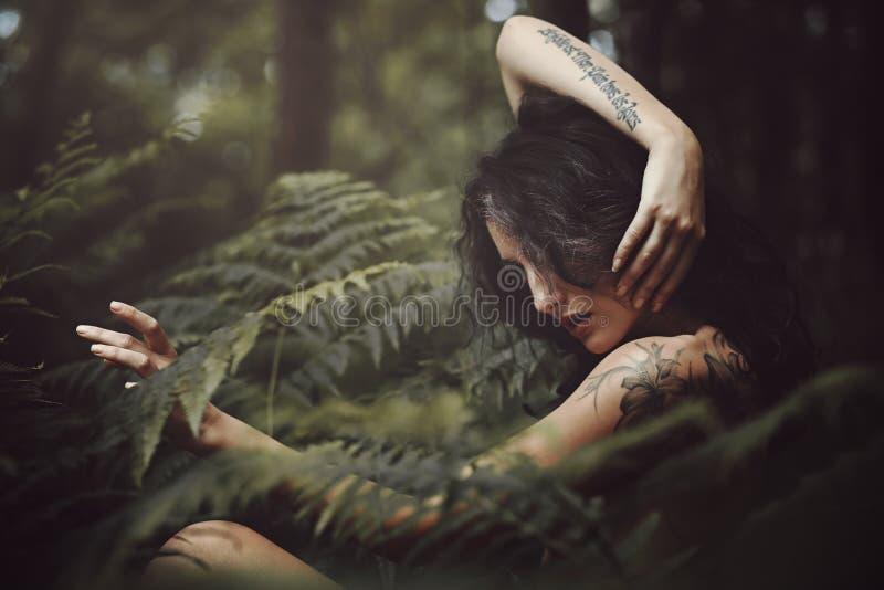 Lös nymf i skogen royaltyfria bilder
