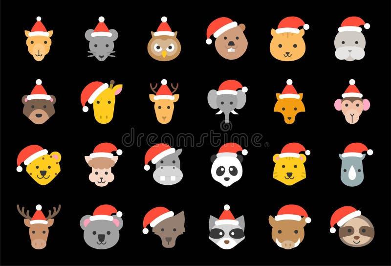 Lös och för skogdjur bärande för jul för hatt för symbol plan design stock illustrationer