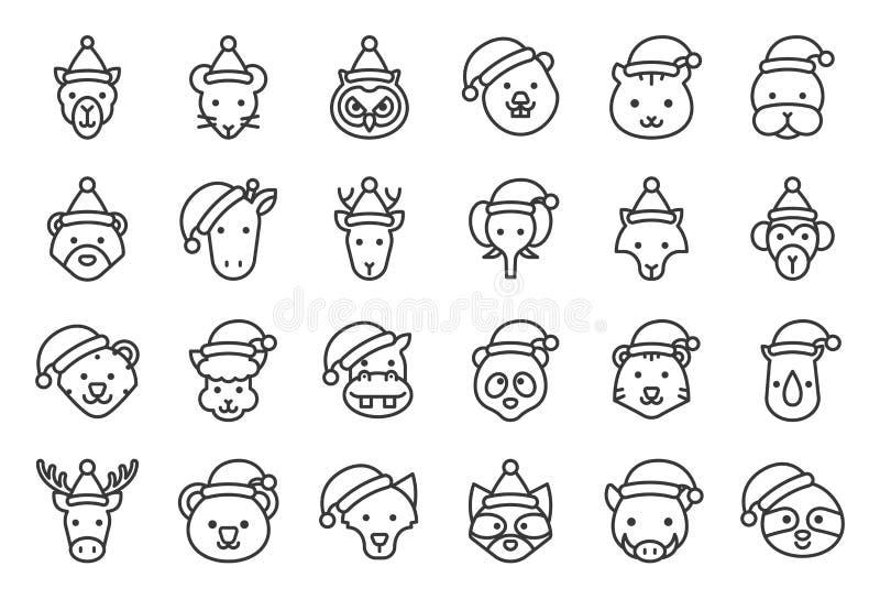 Lös och för skogdjur bärande för jul för hatt för symbol redigerbar översikt royaltyfri illustrationer