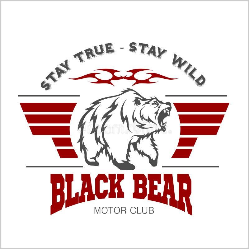 Lös och fri tappningtypografi med ett huvud av en grisslybjörn, t-skjorta tryckdiagram royaltyfri illustrationer