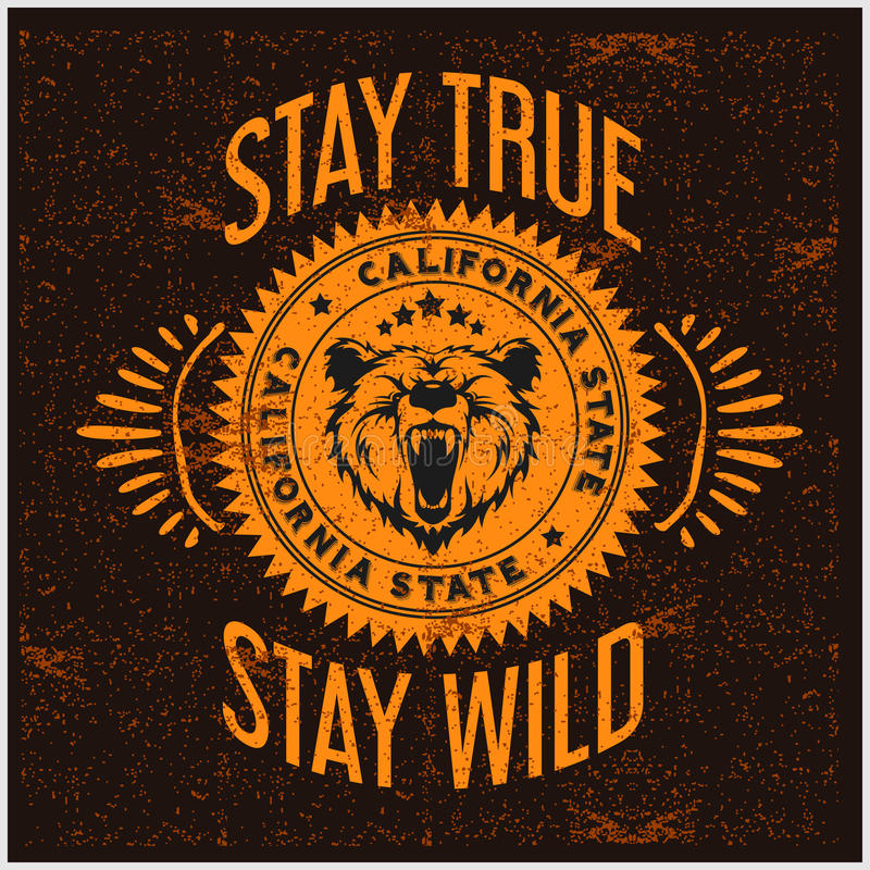 Lös och fri tappningtypografi med ett huvud av grisslybjörnen, t-skjorta tryckdiagram royaltyfri illustrationer