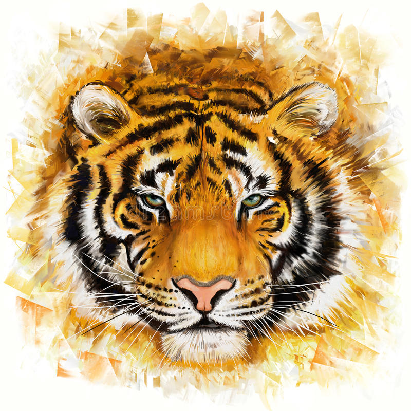 Lös tiger royaltyfri illustrationer