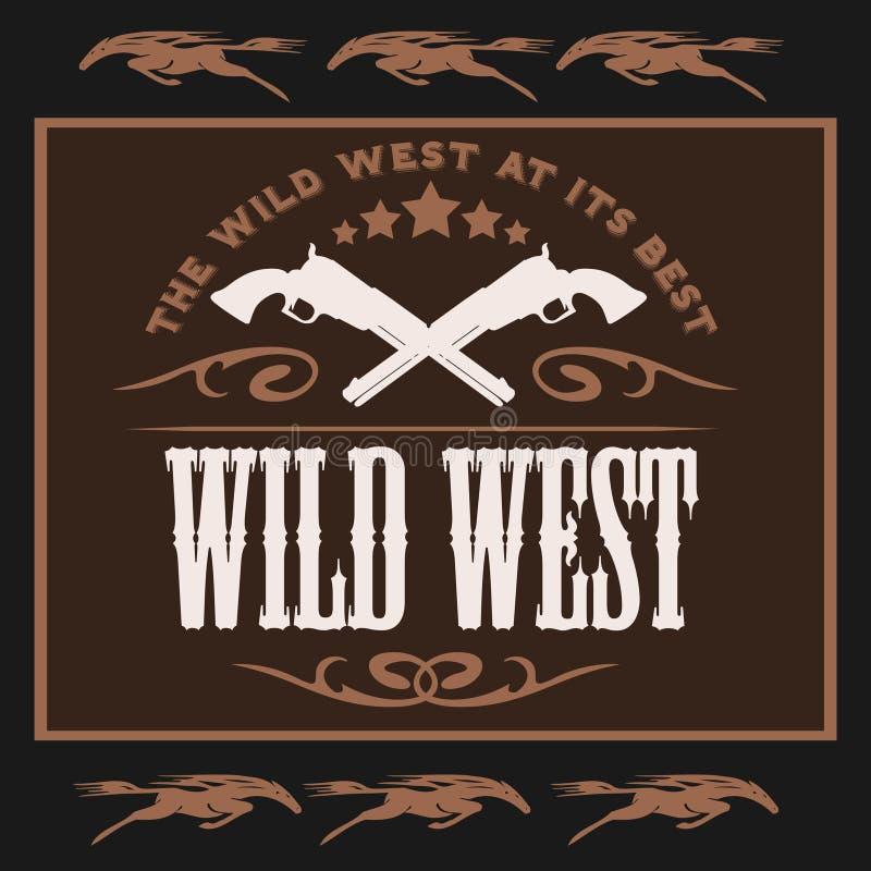 Lös västra affisch för tappning med korsade hingstföl royaltyfri illustrationer