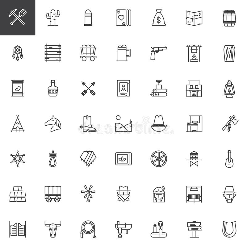 Lös västra linje symbolsuppsättning stock illustrationer