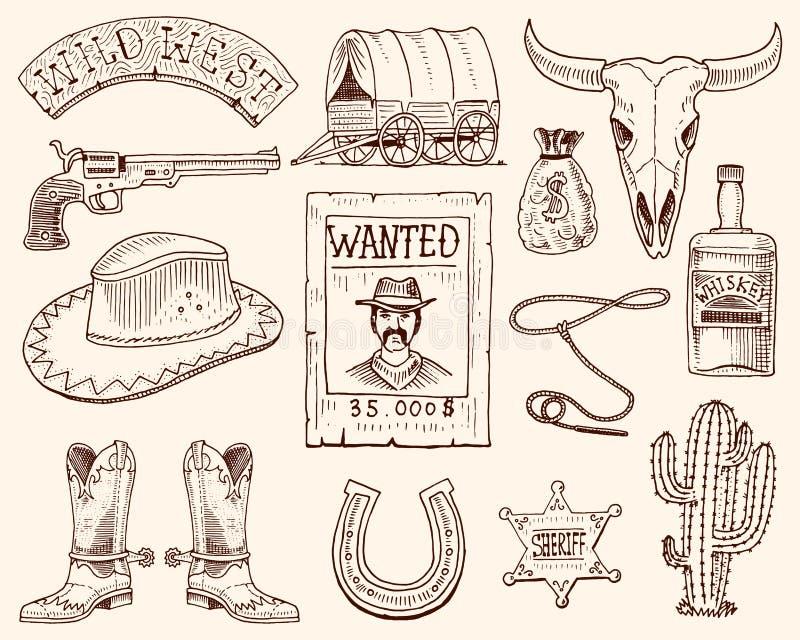Lös västra, rodeoshow, cowboy eller indier med lasson hatt och vapen, kaktus med sheriffstjärnan och bison, känga med royaltyfri illustrationer