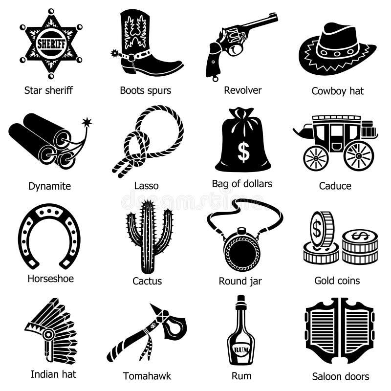 Lös västra symbolsuppsättning, enkel stil stock illustrationer