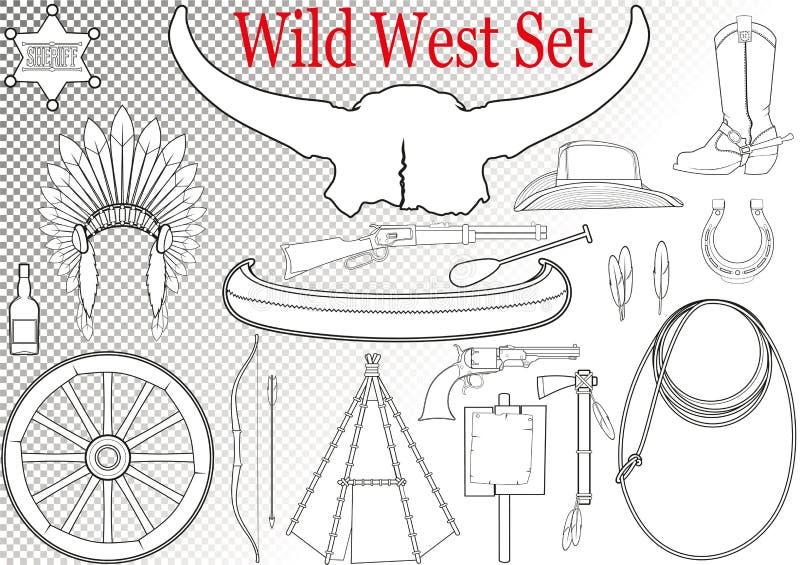 Lös västra uppsättning royaltyfri illustrationer