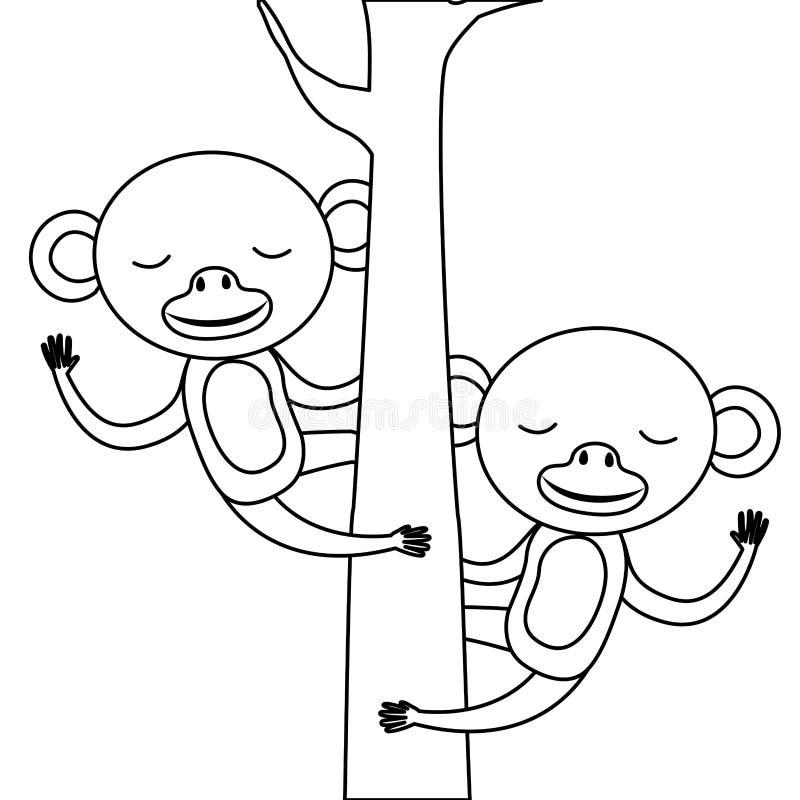 Lösa apapar i trädet vektor illustrationer