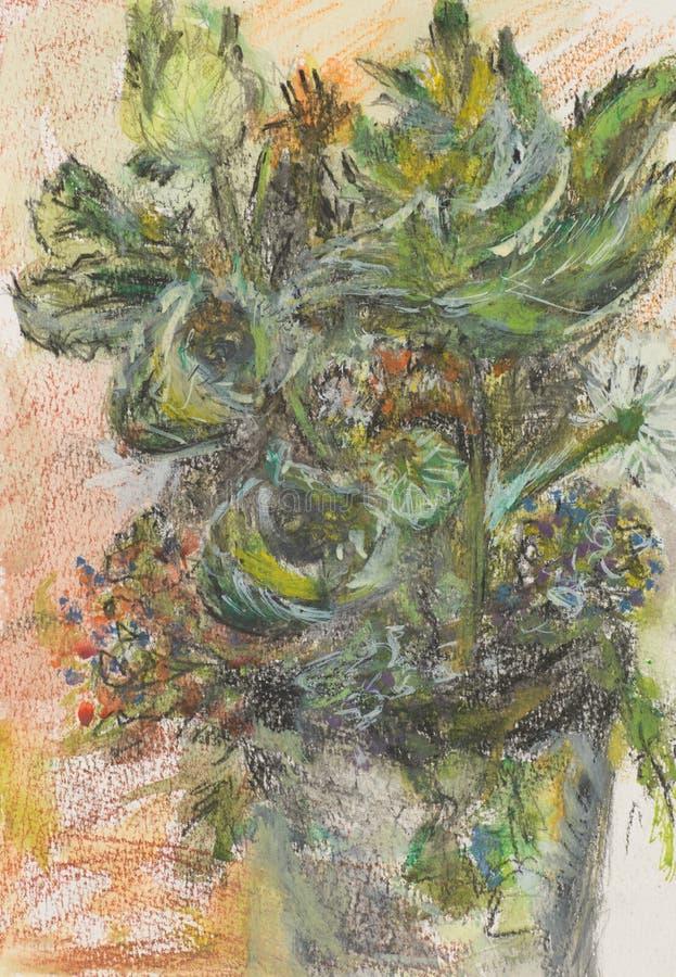 Lösa blommor i en vas, pastellfärgad teckning royaltyfri illustrationer