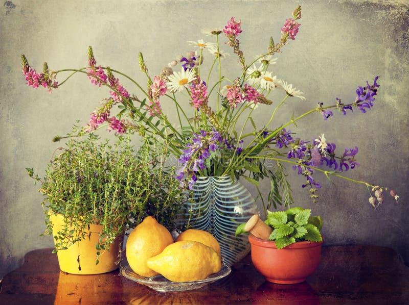 Lösa blommor i vas, örter och citronfrukter royaltyfri fotografi