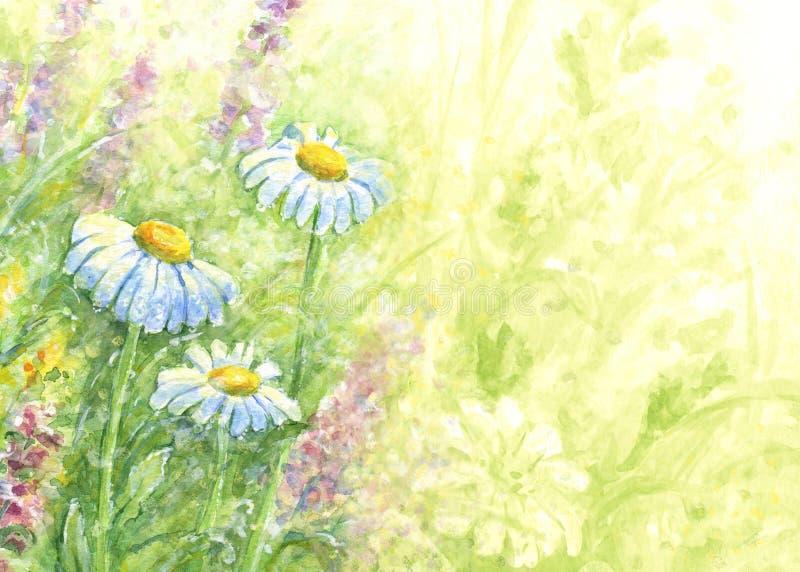 Lösa blommor - vattenfärgbakgrund vektor illustrationer