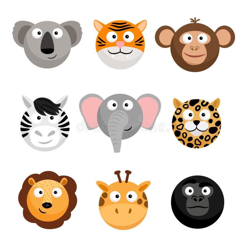 Lösa djura emoticons Framsidor för smileys för vektortecknad film roliga, djura emojis för tecknad film vektor illustrationer