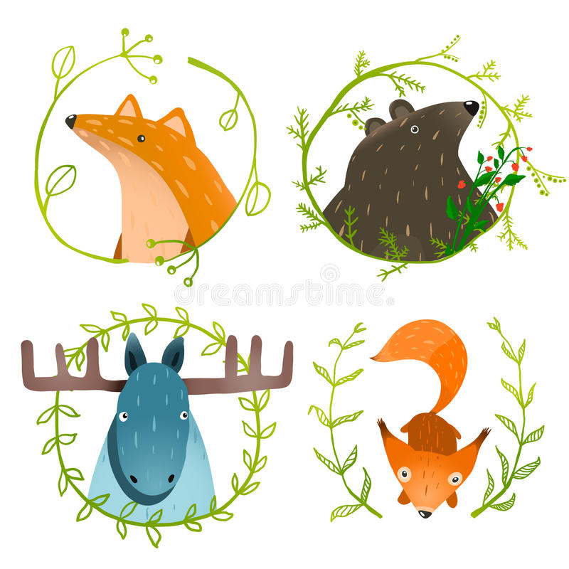 Lösa Forest Animals Set royaltyfri illustrationer