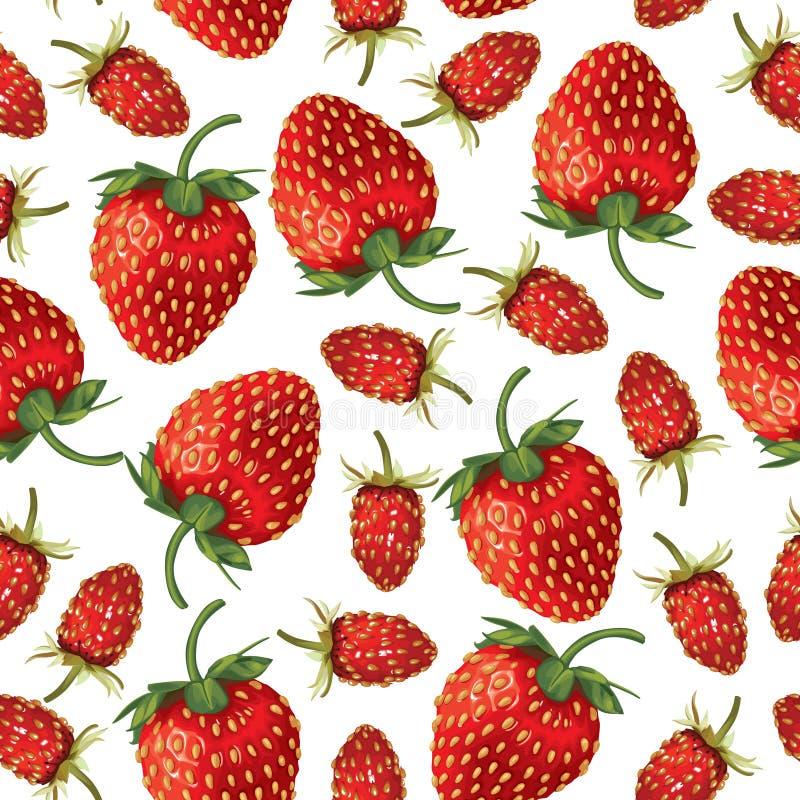 Lösa jordgubbar och sömlös jordgubbemodell stock illustrationer