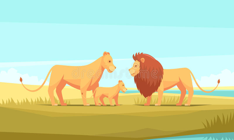 Lösa Lion Family Composition stock illustrationer