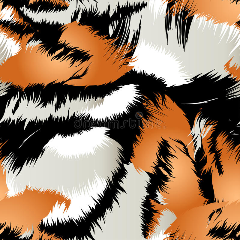 Lösa tigerband i en sömlös modell stock illustrationer