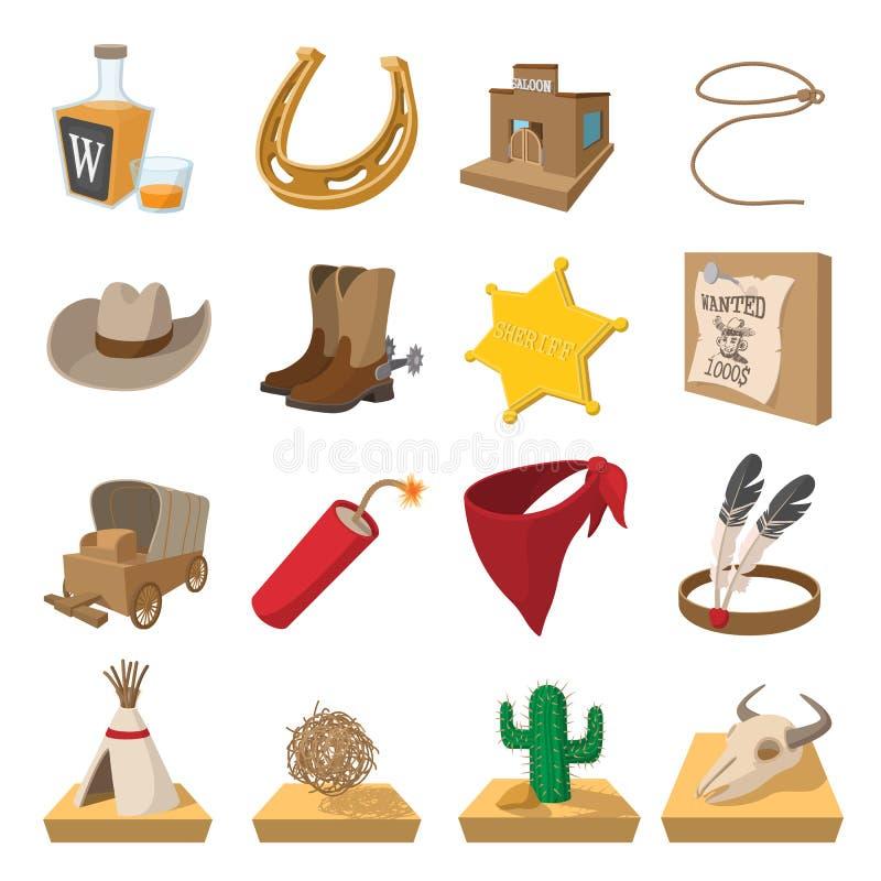 Lösa västra cowboytecknad filmsymboler stock illustrationer