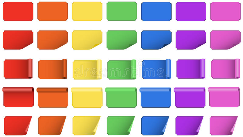Löschen Sie farbige Aufkleber stock abbildung